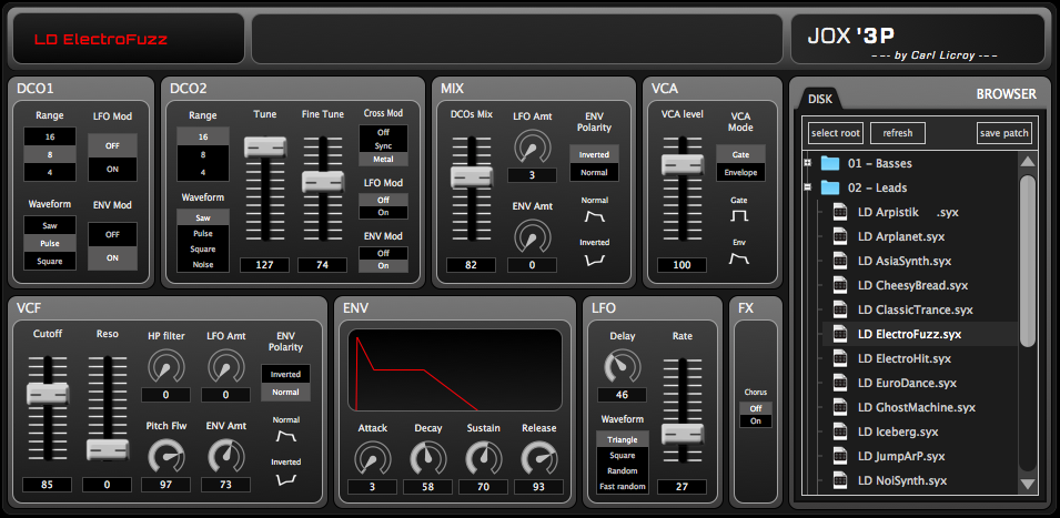 JOX'3P V.2.0 – Editor for Roland JX3P with Organix MIDI Expansion Kit