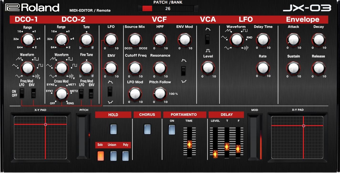 """ROLAND BOUTIQUE JX-03 """"MIDI EDITOR / Controller /REMOTE"""""""