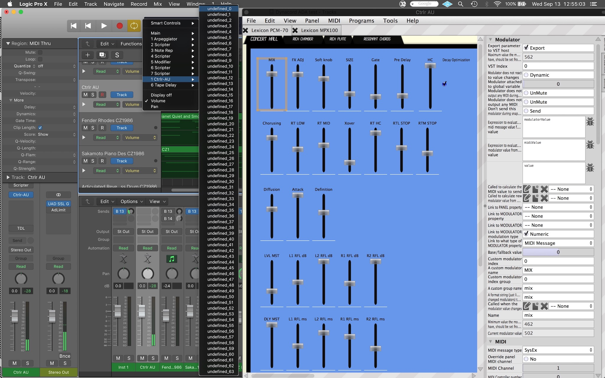 Automation parameter list in Logic Pro 10.3.2