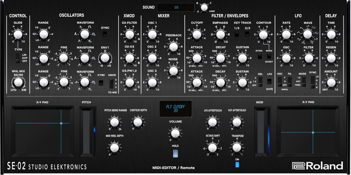 "Roland ""SE-02"" Controller  Editor — VST / Standalone"