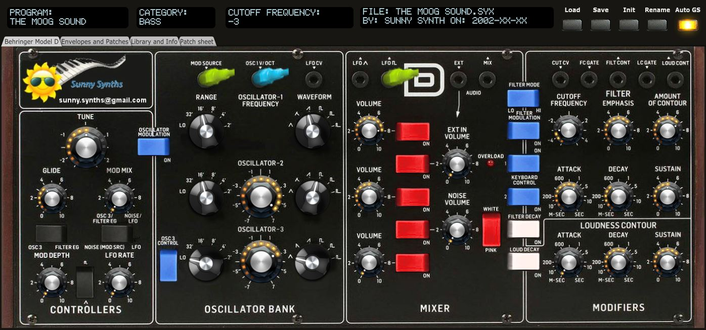 Behringer Model D patch saver