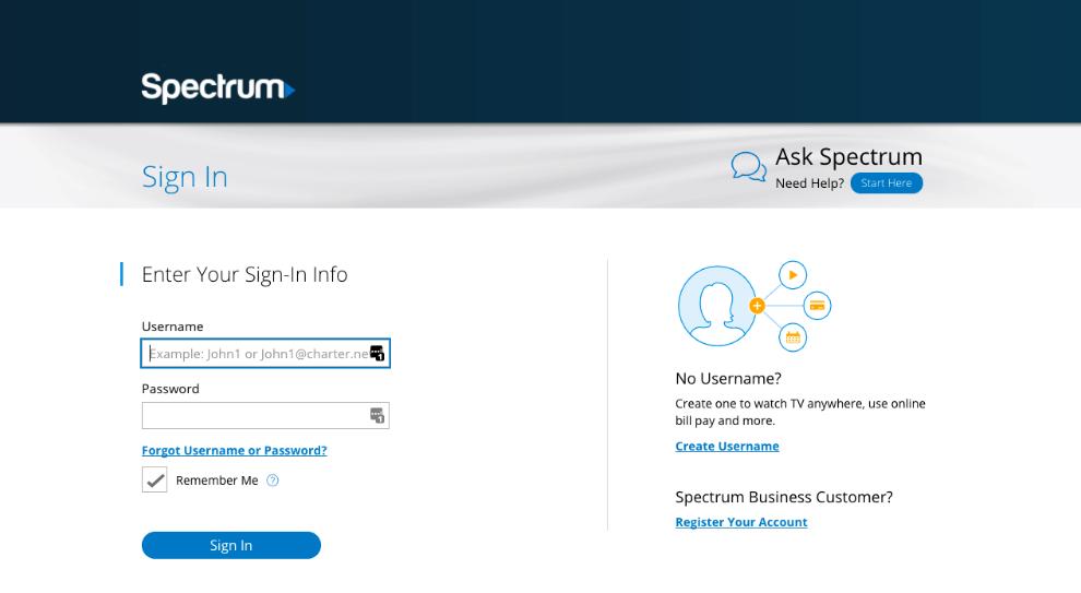 spectrum.net-login-page